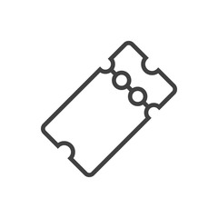 Isolted Pass Outline Symbol On Clean Background. Vector Ticket Element In Trendy Style.
