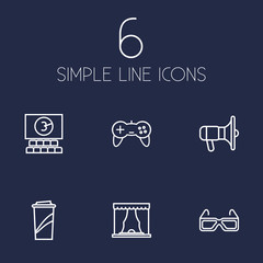 Set Of 6 Pleasure Outline Icons Set.Collection Of Bullhorn, Game Controller, Cinema And Other Elements.