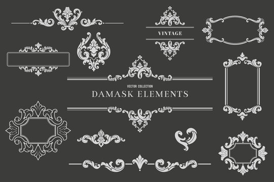 High Quality Damask Design Elements