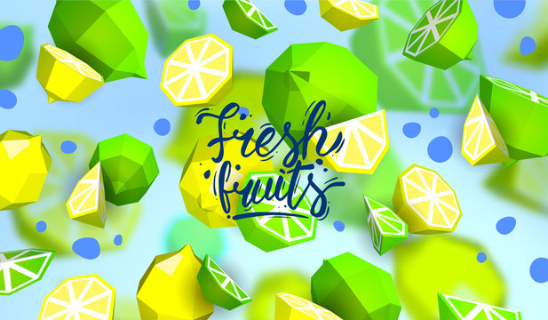 Creative background with low poly fruit. Illustration with polygonal lime and lemon.