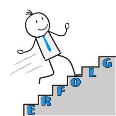 Erfolg Figur läuft Treppe hoch
