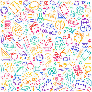 Back to school seamless pattern from education, science objects and office supplies.