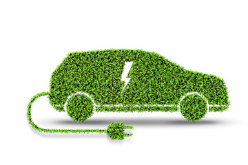 Electric green car isolated on the white background 3D rendering
