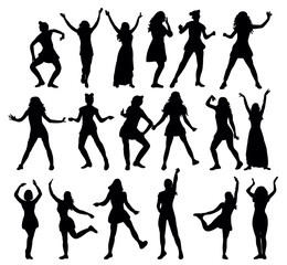 Silhouette  girl dancing, collection