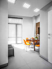 Gray White Urban Contemporary Modern Minimalism High-tech Kitchen in Office Interior Design. 3d rendering