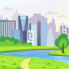 Green city landscape with road, river and trees vector illustration. City background in flat style.