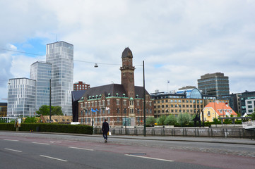 MALMO, SWEDEN - MAY 31, 2017: view of the Malmo city from Norra Vallgatan street, Malmo, Sweden
