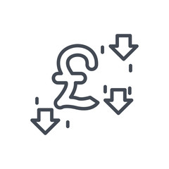 Trading Business pound currency line Icon