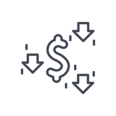 Trading Business Dollar Currency line Icon