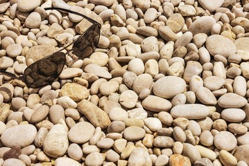 Glasses on the pebbles beach
