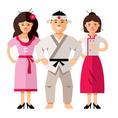 Vector Japan people. Flat style colorful Cartoon illustration