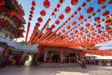Traditional Chinese lanterns display during Chinese new year festival at Thean Hou Temple in Kuala Lumpur, Malaysia.