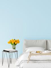 Mock up wall bedroom interior