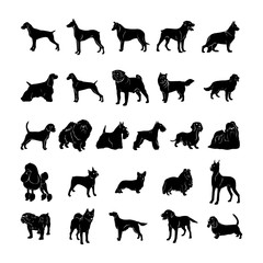 dog silhouette. Vector Illustration.. Collection set