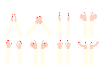 various poses of woman hand