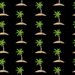 Seamless pattern with embroidery stitches imitation little palm tree