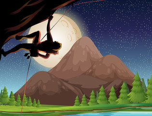 Rock climbing on fullmoon night