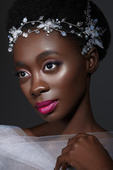 Beautiful black girl with crystal wreath