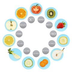 Fruit symbols, diet concept