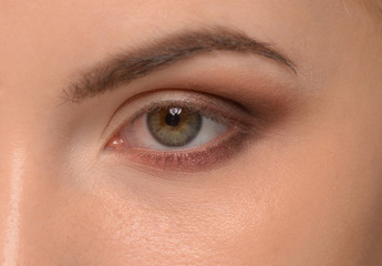 Closeup of beautiful woman eye with makeup