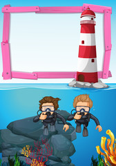 Background template with divers underwater