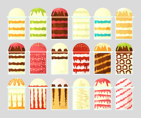 A set of ice cream icon in transparent cups with different fillings. Street food illustration.