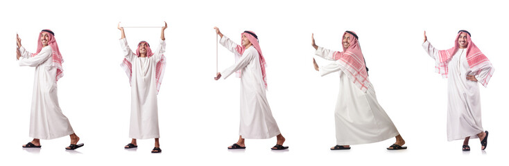 Arab man pushing virtual obstacle on white