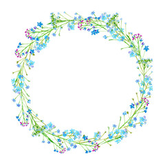 Round frame of a forget-me-not flowers.Green and blue floral wreath.Watercolor hand drawn illustration.