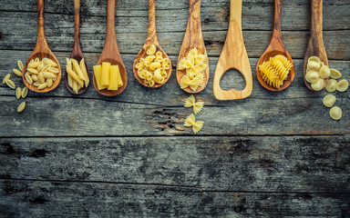 Italian foods concept and menu design. Various kind of Pasta Farfalle, Pasta A Riso, Orecchiette Pugliesi, Gnocco Sardo and Farfalle in wooden spoons setup on shabby wooden background with flat lay.