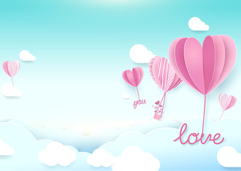 Paper art style Heart shape balloons flying in sky. Valentines day and Love background