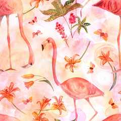 Seamless pattern with watercolor flamingo birds and butterflies on pink