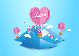 Paper art style Heart shape balloons flying with cloud over mountain. Love concept. Valentines day background