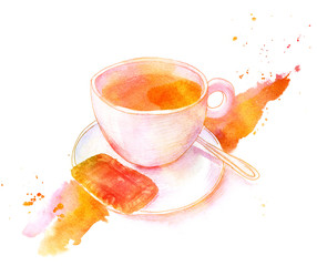 Golden toned watercolour drawing, cup of coffee with biscuit