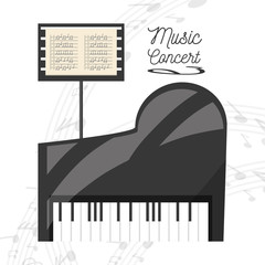 piano instrument with music sheet concept music vector illustration
