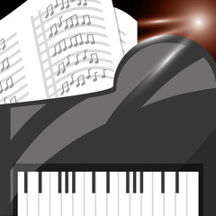piano instrument with music sheets vector illustration
