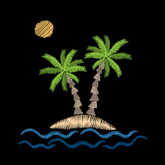 Palm tree with wave and sun embroidery stitches imitation