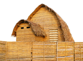 Brown bamboo huts, straw leaves thatched roof, wooden fence around the house, small nature home isolated on white background, basic wood cottage.