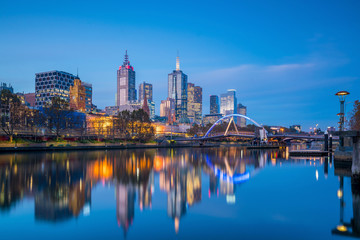 Melbourne city skyline at twilight