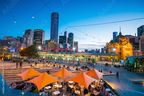 Fotomurales Melbourne city skyline at twilight