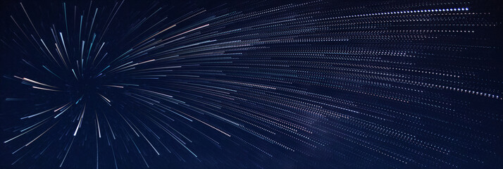Shooting stars in the night sky, star trail,