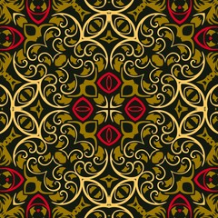 Tracery seamless abstract decorative baroque floral pattern ethnic style royal luxury classical damask vector design