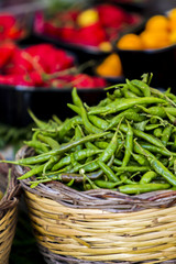 Fresh spicy green chili peppers