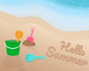 Green orange pink blue Beach toy on the beach. Hello Summer on the sand with the blue tone of wave. illustration. vector. graphic design. summer season.