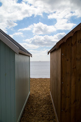 Between the huts