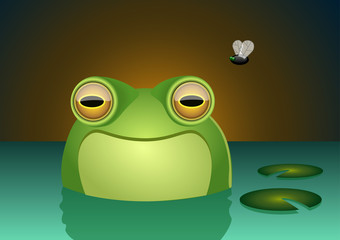 A happy frog character smiling inside of a swamp with a fly in the background. Vector illustration