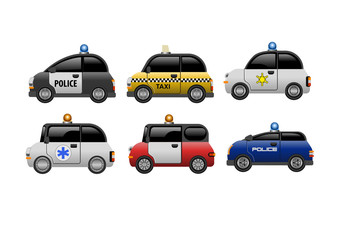 A set of public service electric minicars. Vector Illustration