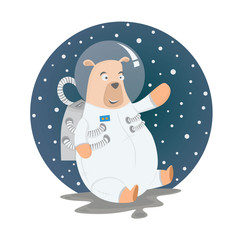bear as astronaut in the space with suit, animal cartoon vector illustration