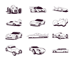 sport old fast cars clipart cartoon collection. Vector Illustration.. Collection set