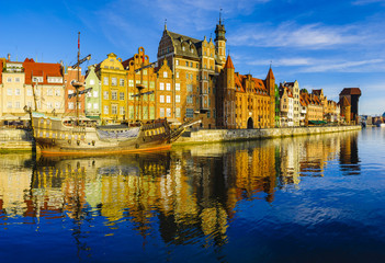Aluminium Prints City on the water colorful gothic facades of the old town in Gdansk, Poland, on sunset