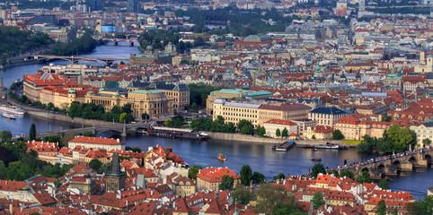 Image of Prague bridges over Vltava river, capital city of Czech Republic, during twilight blue hour,Prague,Czech Republic